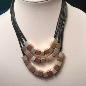 Three Layer Necklace with Silver & Gold Blocks